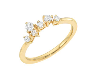 Dia Constellation Cluster Gold Ring LN116