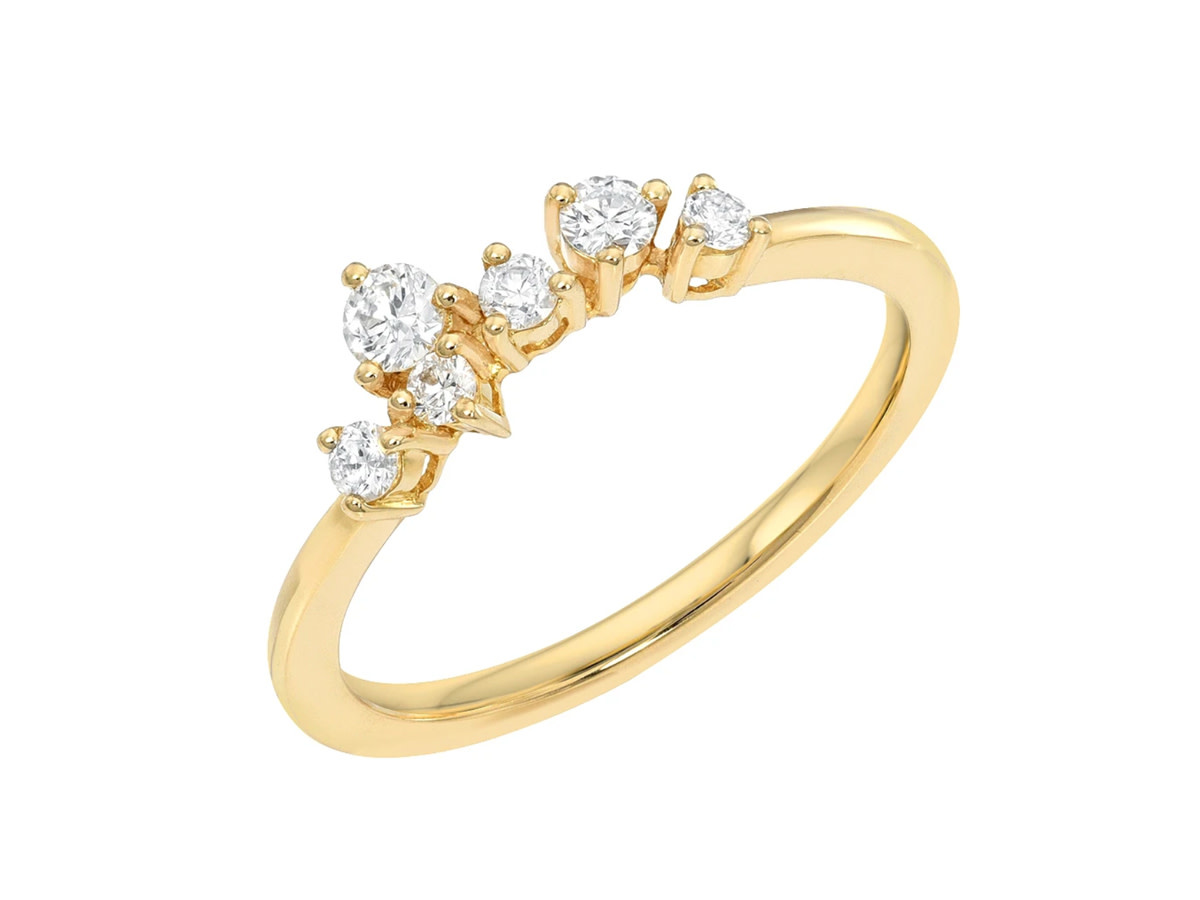 Diamond Constellation Cluster Gold Ring