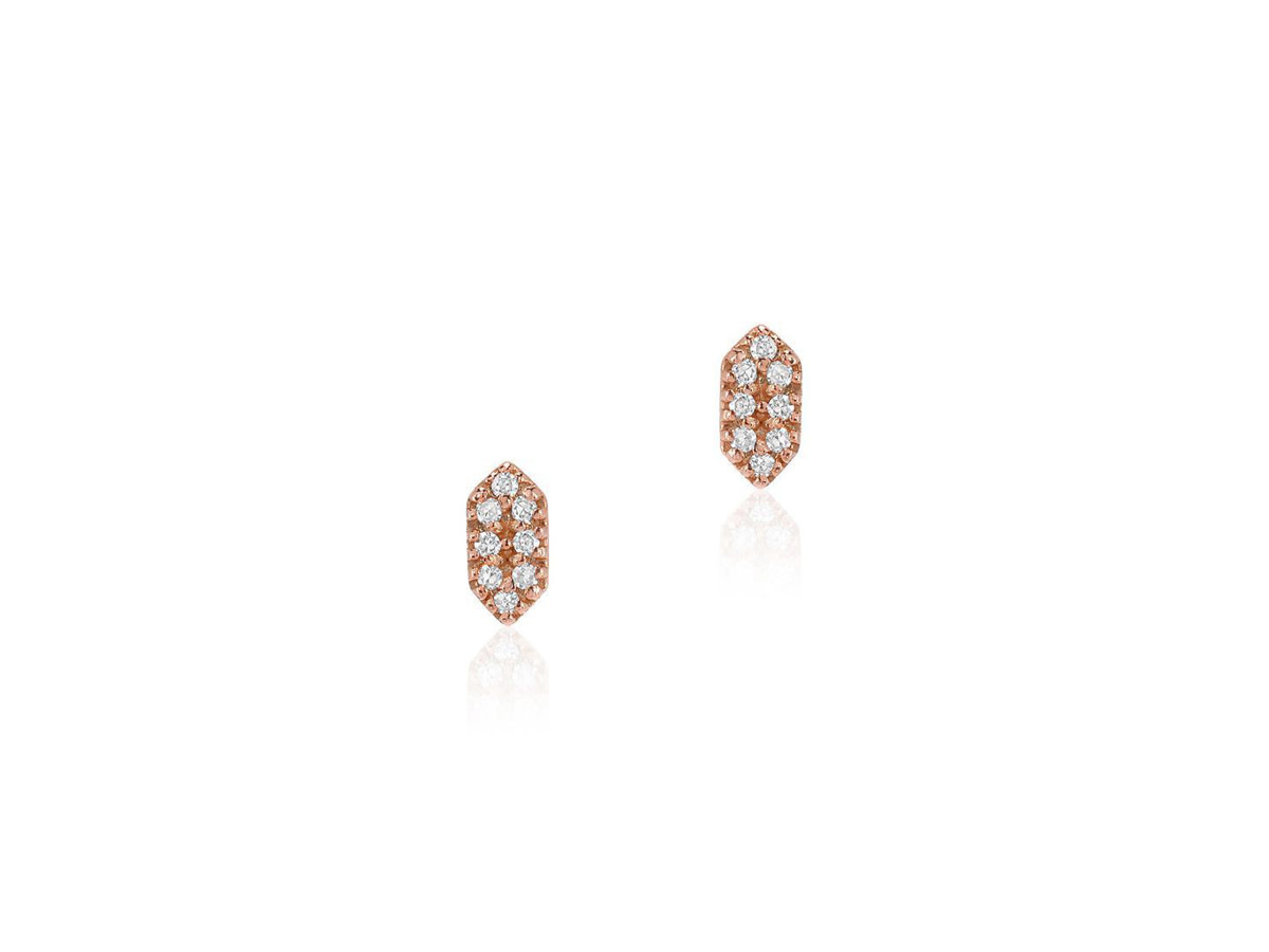 Petite Diamond Capsule Rose Gold Studs