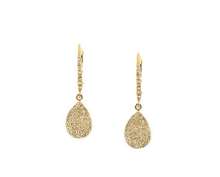 Pave Diamond Pear Drop Earrings LN107