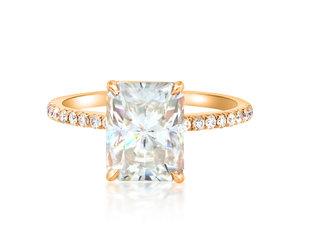Trabert Goldsmiths 3.70ct Radiant Cut Moissanite Pave Aura Ring E2231