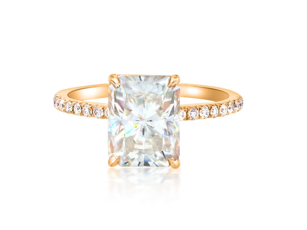 Trabert Goldsmiths 3.70ct Radiant Cut Moissanite Pave Aura Ring
