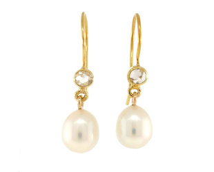 Trabert Goldsmiths Pearl and Diamond Drop Earrings E2237