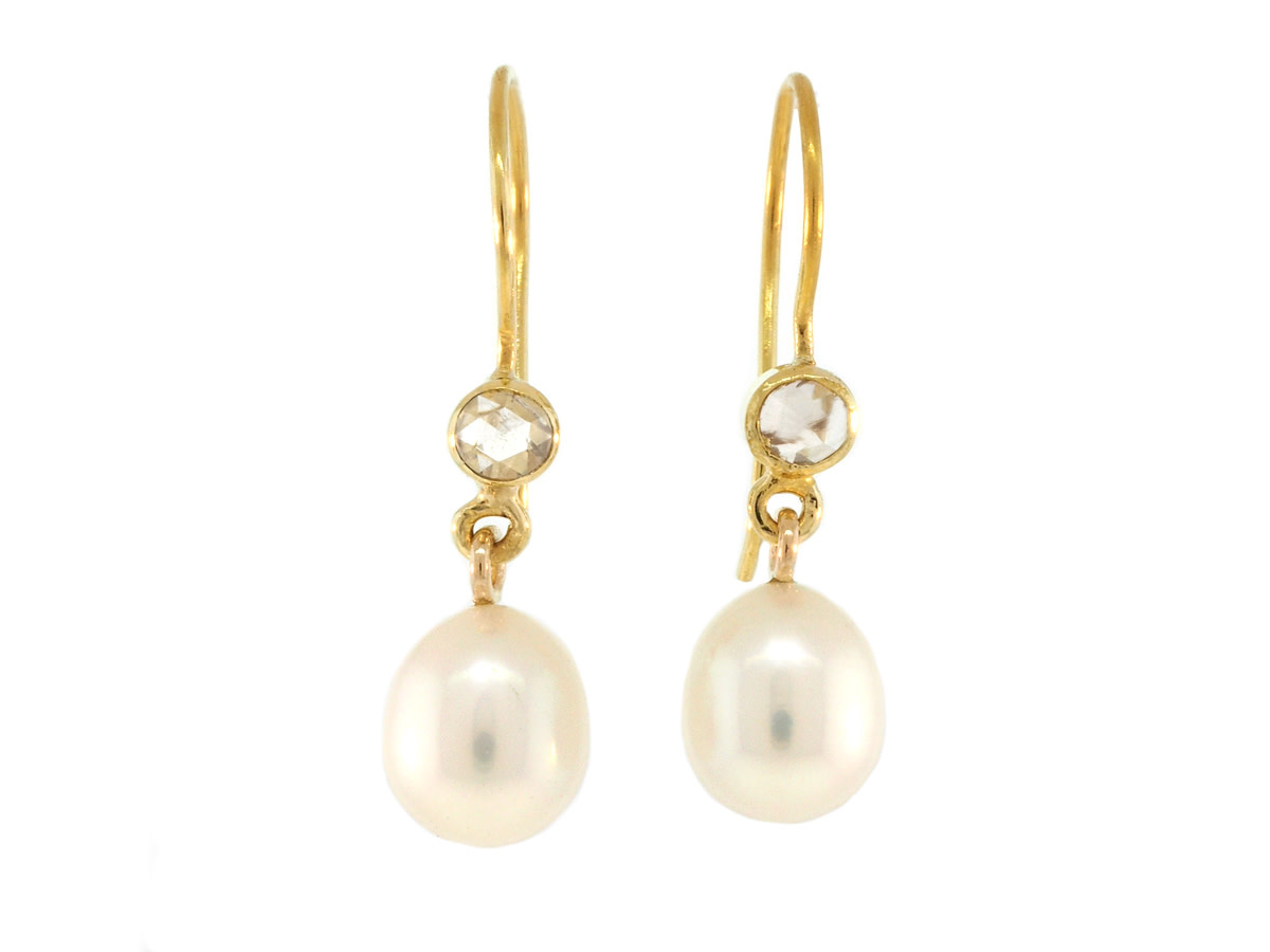Trabert Goldsmiths Pearl and Diamond Drop Earrings