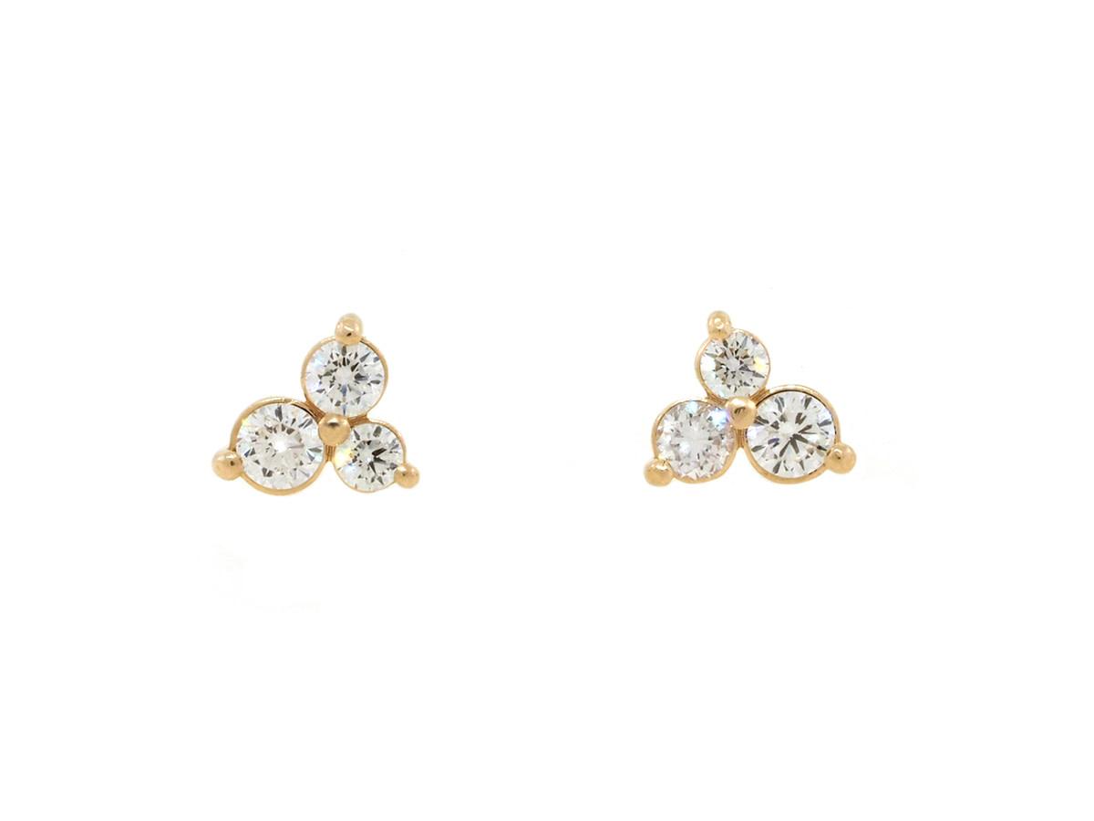 Trabert Goldsmiths Triple Diamond Stud Earrings