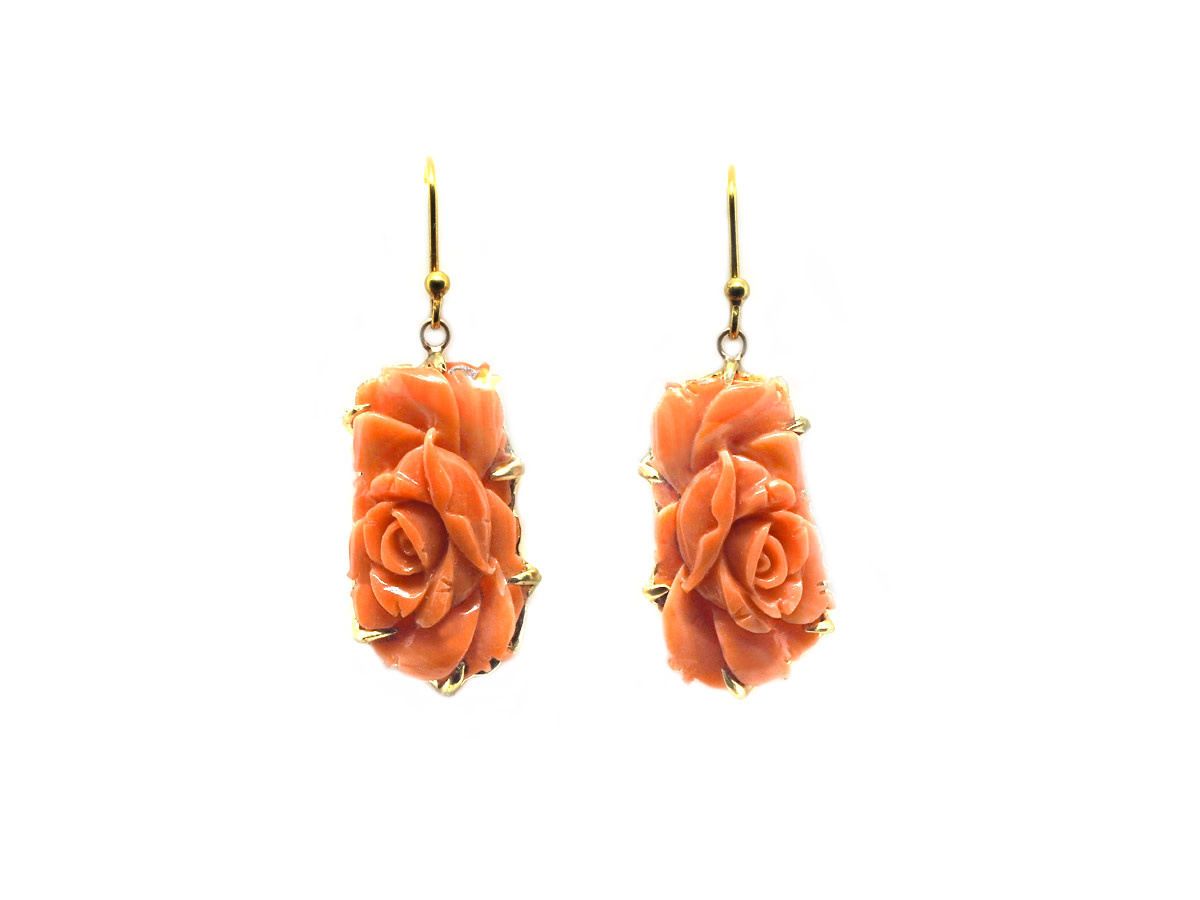 Trabert Goldsmiths Carved Coral Flower Drop Earrings