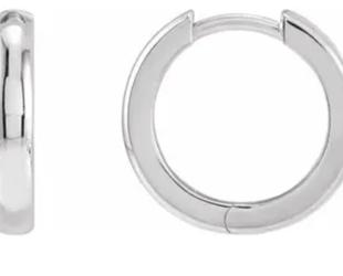 Trabert Goldsmiths White Gold Hinged Hoop Earrings E2260