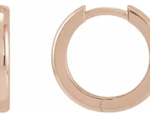 Trabert Goldsmiths Rose Gold Hinged Hoop Earrings E2261
