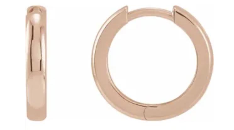 Trabert Goldsmiths Rose Gold Hinged Hoop Earrings E2261