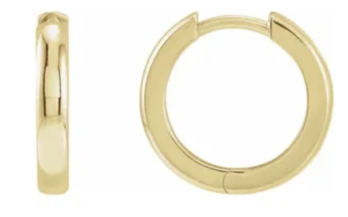 Trabert Goldsmiths Yellow Gold Hinged Hoop Earrings