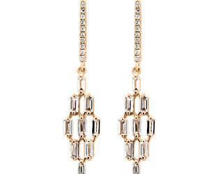 Trabert Goldsmiths Baguette Diamond Kite Drop Earrings E1929