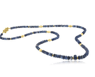 Trabert Goldsmiths Kyanite and Gold Beaded Necklace E2143