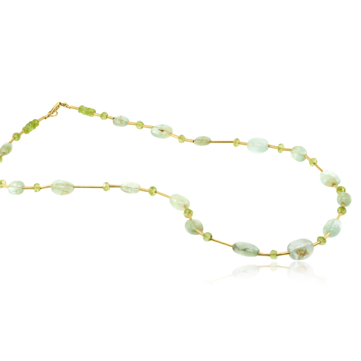 Trabert Goldsmiths Prehnite and Peridot Beaded Necklace