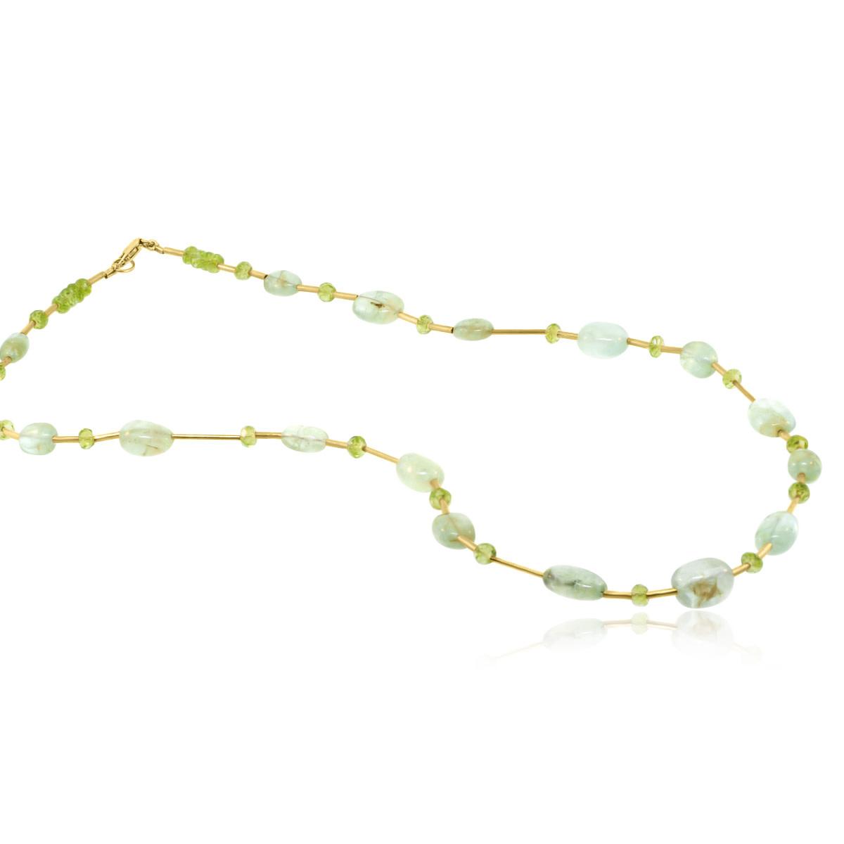 Trabert Goldsmiths Prehnite and Peridot Beaded Necklace