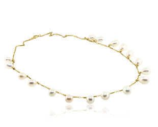 Trabert Goldsmiths Vintage Freshwater Pearl Drop Necklace E2146
