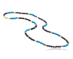 Trabert Goldsmiths Lapis and Turquoise Beaded Necklace E2147