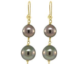 Trabert Goldsmiths Dark Double Pearl Drop Earrings E2149