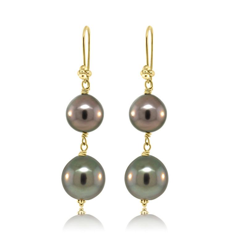 Trabert Goldsmiths Dark Double Pearl Drop Earrings