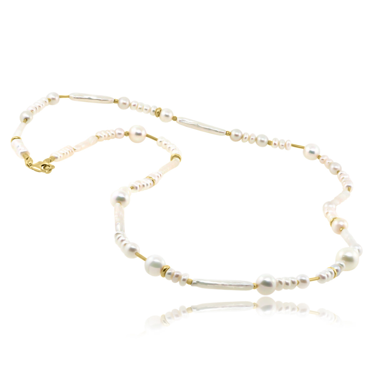 Trabert Goldsmiths Mixed Pearl Confetti Necklace