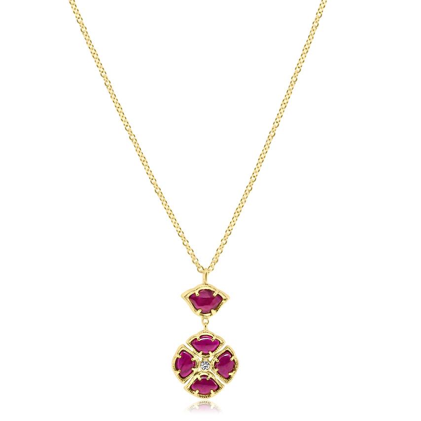 Ruby Lotus Pendant