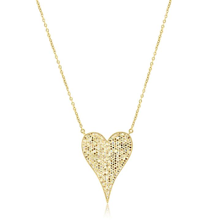 Yellow Gold Diamond Pave Heart Pendant
