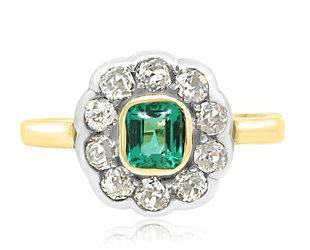 Trabert Goldsmiths Antique Victorian Emerald and Dia Ring E2164