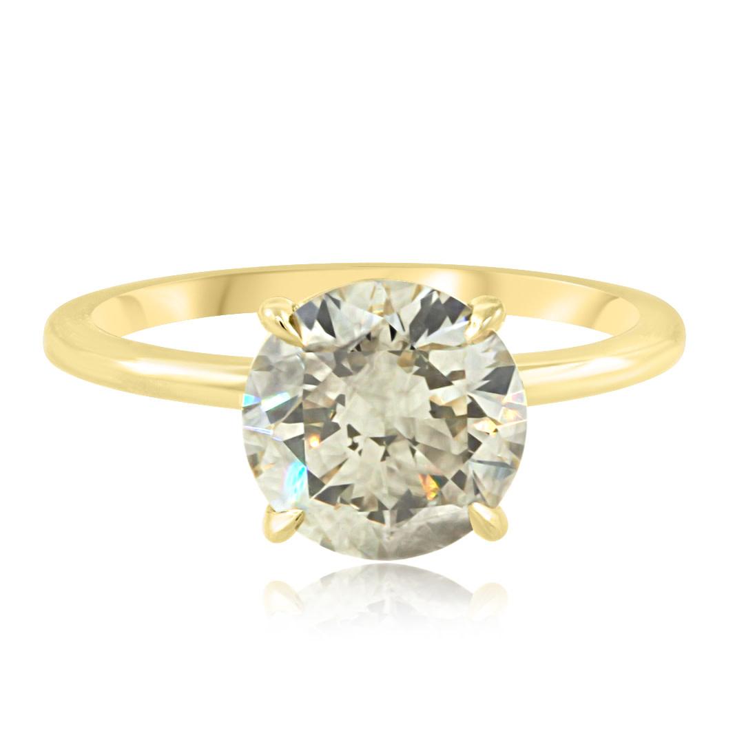 Trabert Goldsmiths 2.16ct Green Grey Diamond Aura Ring