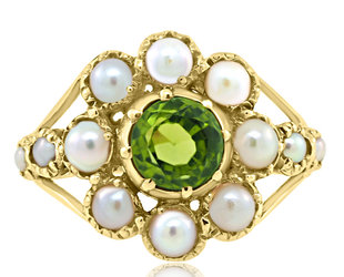 Trabert Goldsmiths Antique Peridot and Pearl Cluster Ring E2167