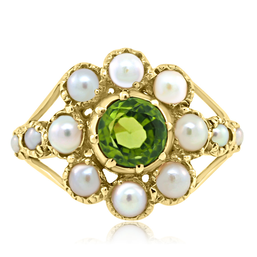 Trabert Goldsmiths Antique Peridot and Pearl Cluster Ring