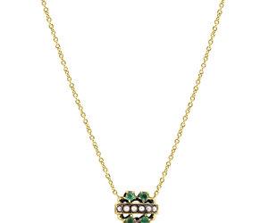 Victorian Emerald and Pearl Necklace E2168