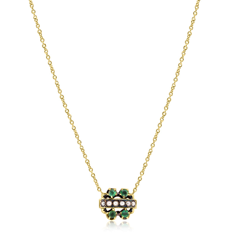 Victorian Emerald and Pearl Necklace
