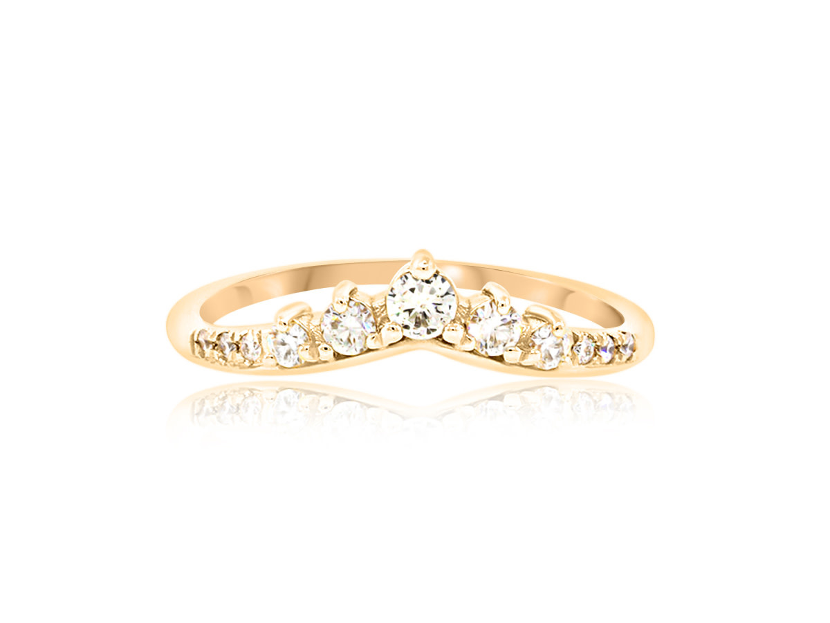 Trabert Goldsmiths Curved Diamond Contour Ring