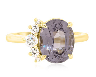 Trabert Goldsmiths 3.63ct Violet Grey Oval Spinel Flare Ring E2179