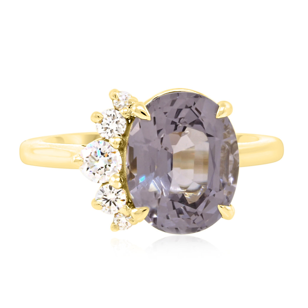 Trabert Goldsmiths 3.63ct Violet Grey Oval Spinel Side Flare Ring