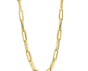 Large Gold Oval Link Necklace E2182