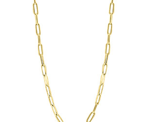 Small Long Oval Link Gold Necklace E2184