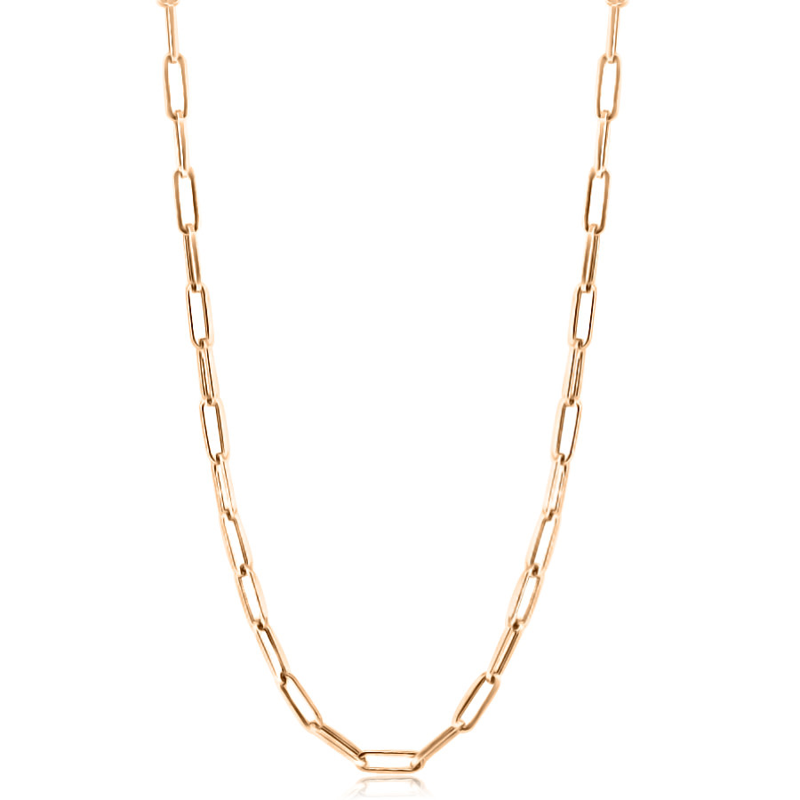 Small Long Oval Link Rose Gold Necklace