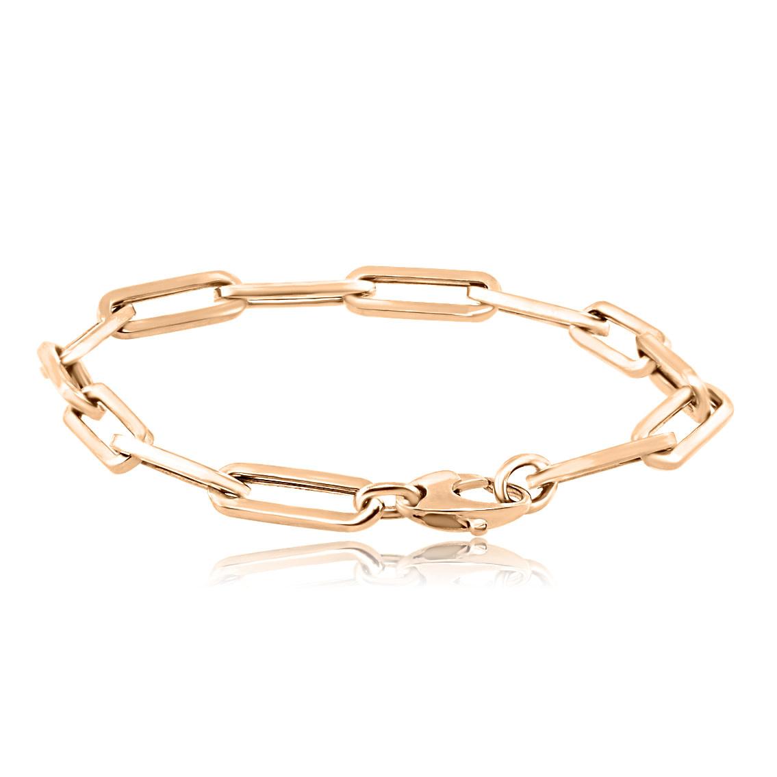 Trabert Goldsmiths Large Oval Link Rose Gold Bracelet
