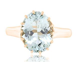 Trabert Goldsmiths 3.26ct Green Aquamarine Ring E2197