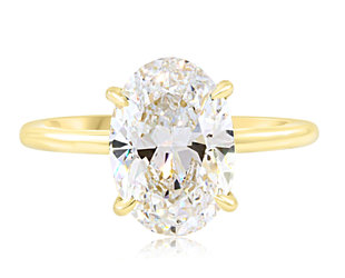 Trabert Goldsmiths 3.04ct GSI2 Oval Diamond Aura Ring E2215