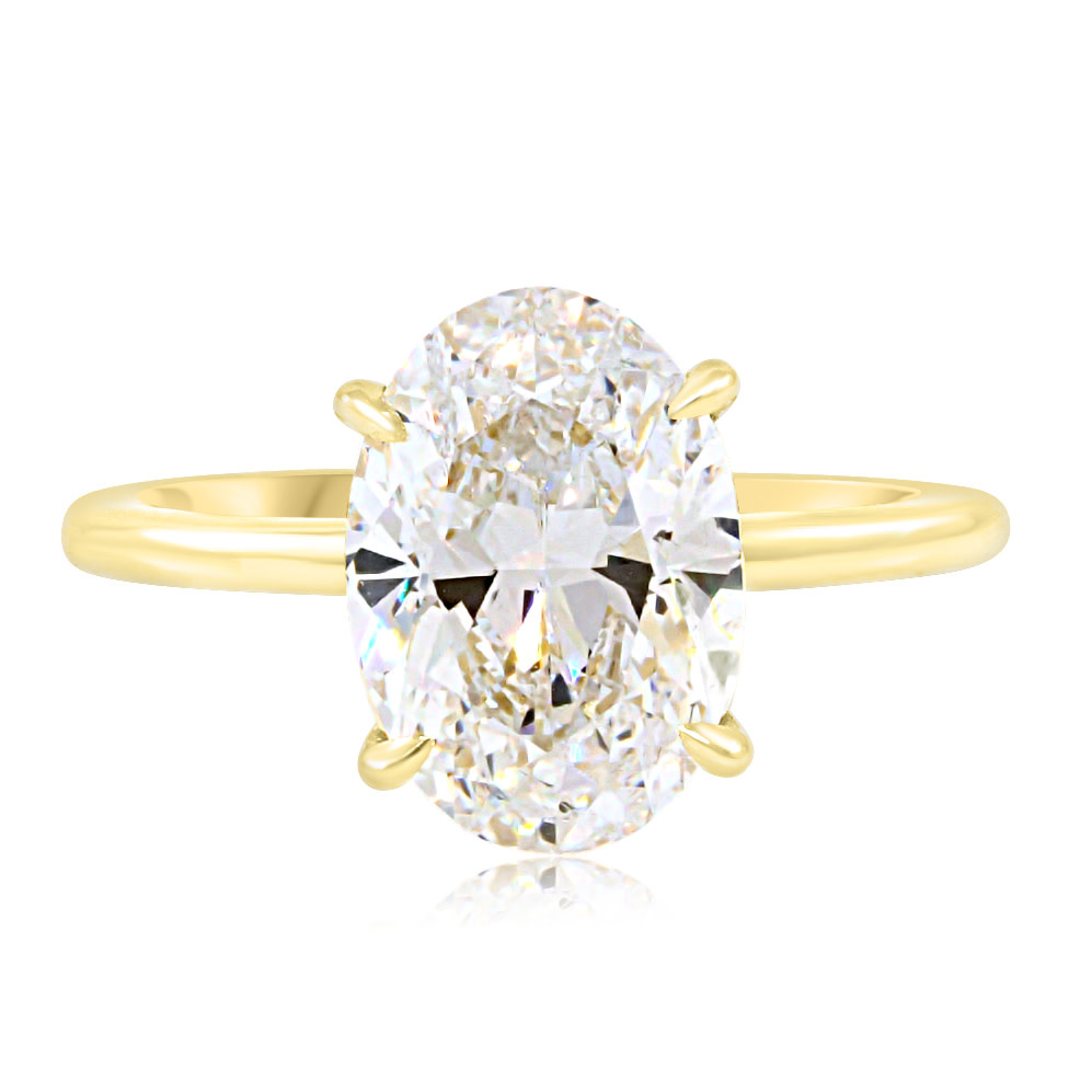 Trabert Goldsmiths 3.04ct GSI2 Oval Diamond Aura Ring