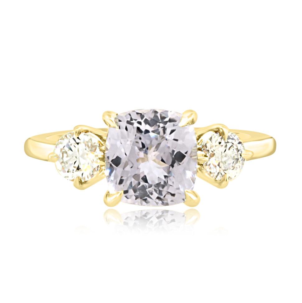 Trabert Goldsmiths 2.39ct Pale Blue Sapphire Twilight Ring