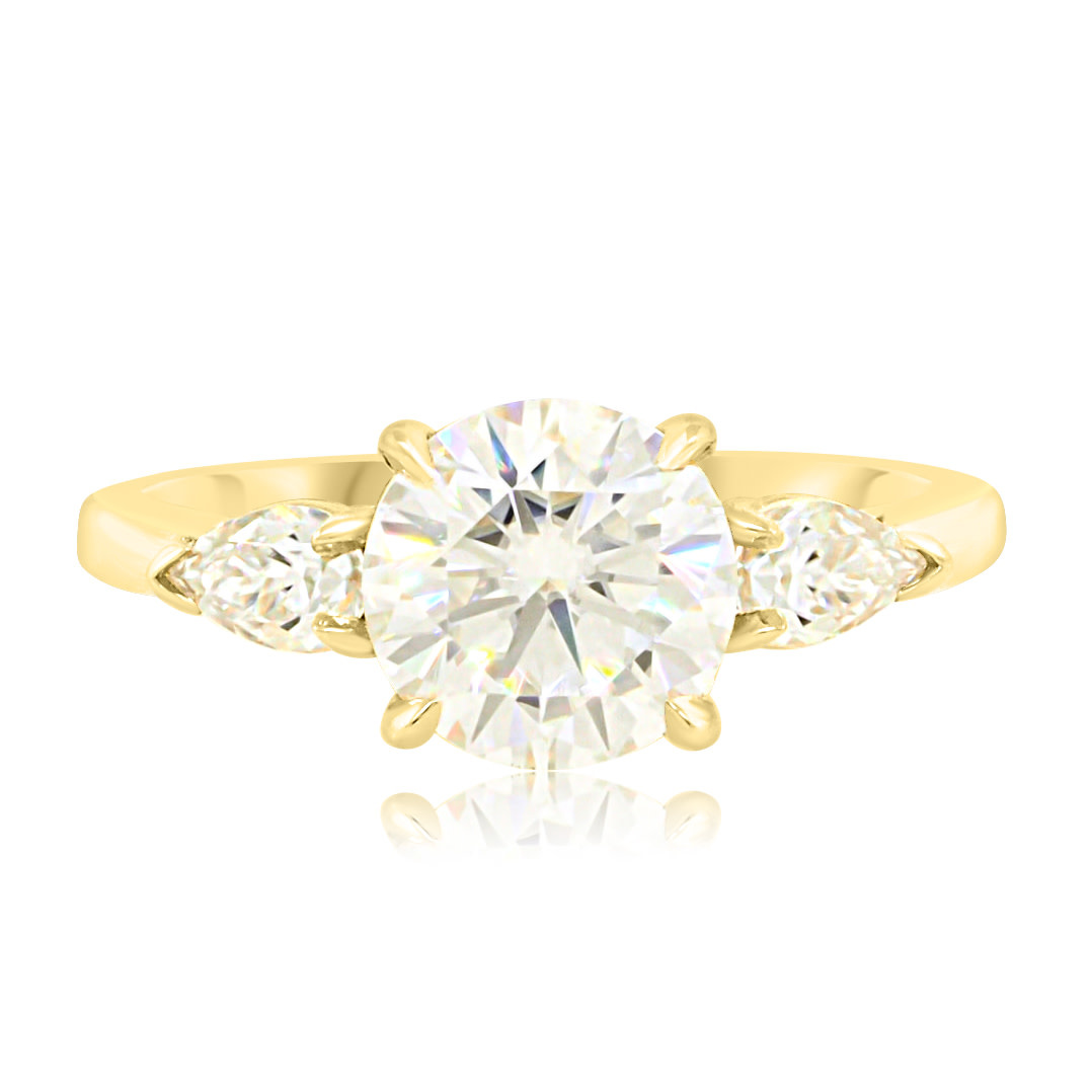Trabert Goldsmiths 1.50ct Round Brilliant Moissanite Trinity Ring