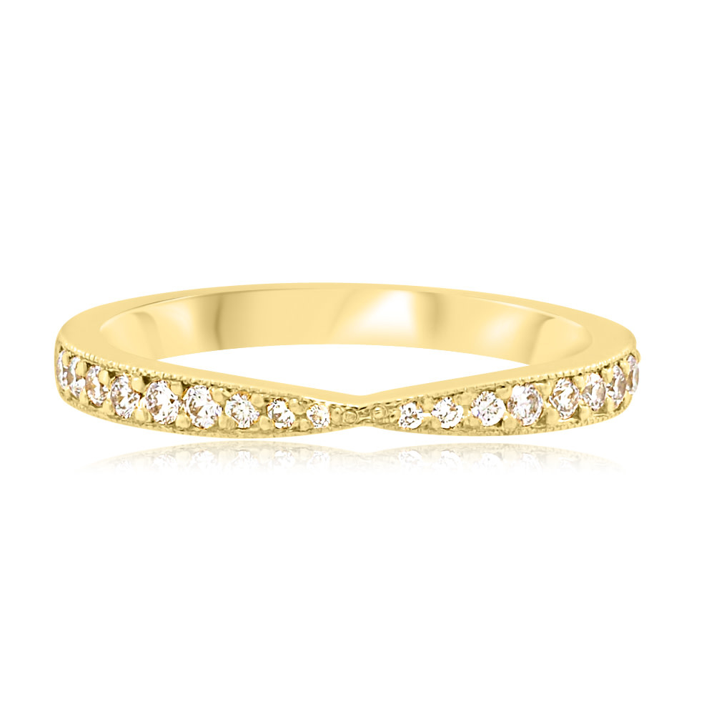 Trabert Goldsmiths Tapered Vertex Pave Diamond Gold Ring