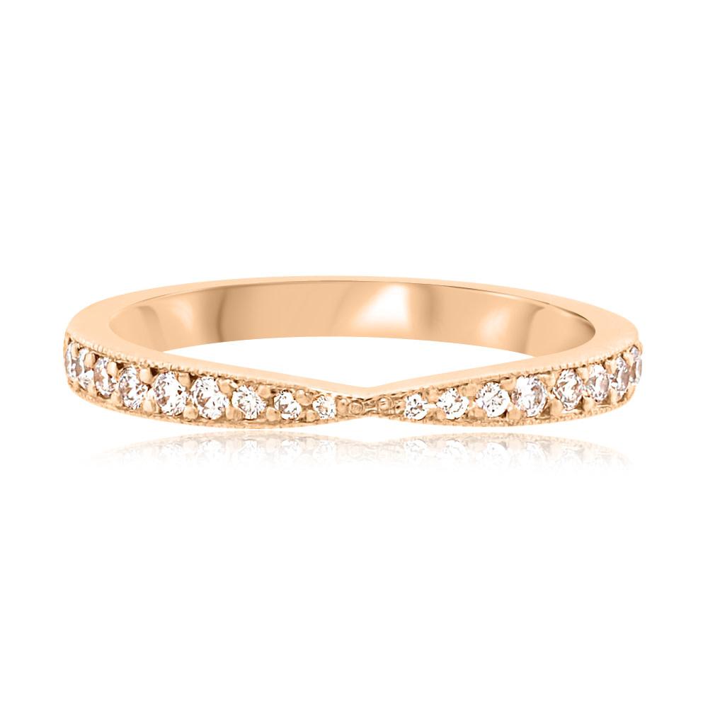 Trabert Goldsmiths Tapered Vertex Diamond Rose Gold Ring