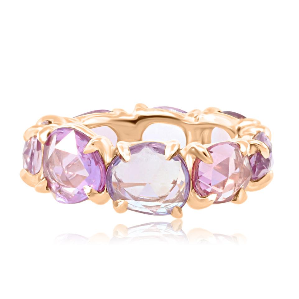 Trabert Goldsmiths Rose Cut Blush Sapphire Eternity Ring