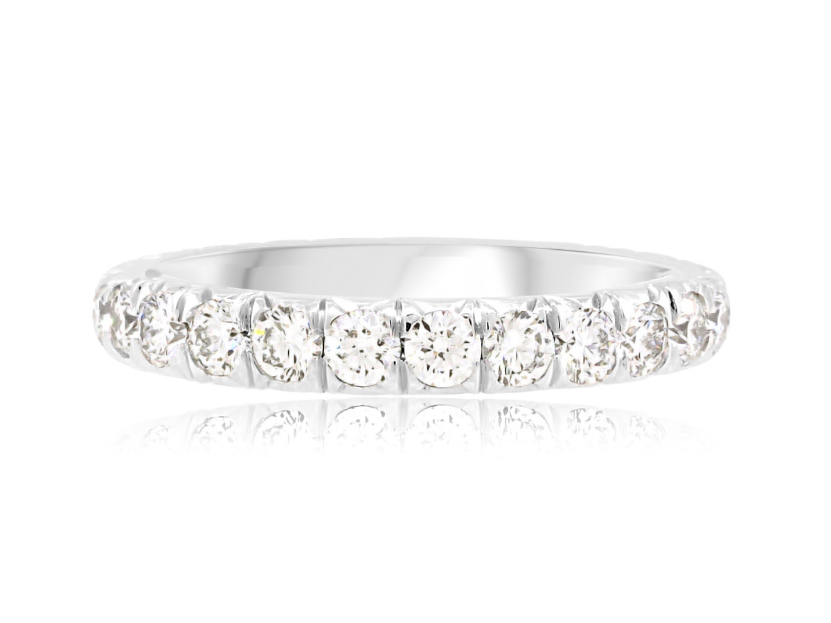Trabert Goldsmiths Large Linea French Pave Platinum Eternity