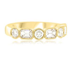 Trabert Goldsmiths Round and Baguette Diamond Gatsby Ring E2234