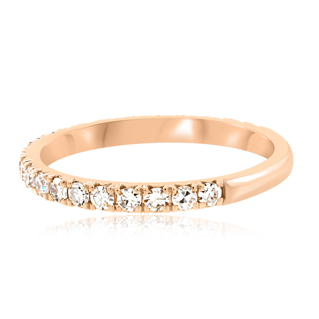 Trabert Goldsmiths French Pave Diamond Rose Gold Ring