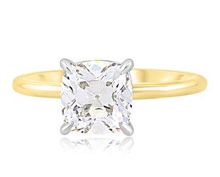 Trabert Goldsmiths 1.70ct Lab Antique Cushion Cut Diamond Aura Ring E2241